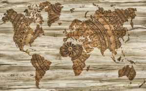 A brown map of the world