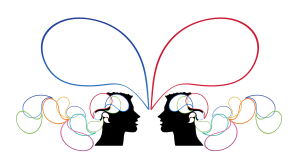 Two outlines of heads with speech bubbles
