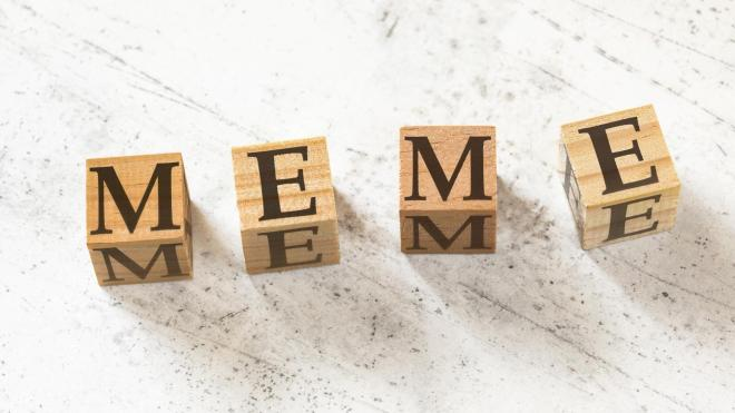 """The word """"Meme"""" made out of wooden blocks"""