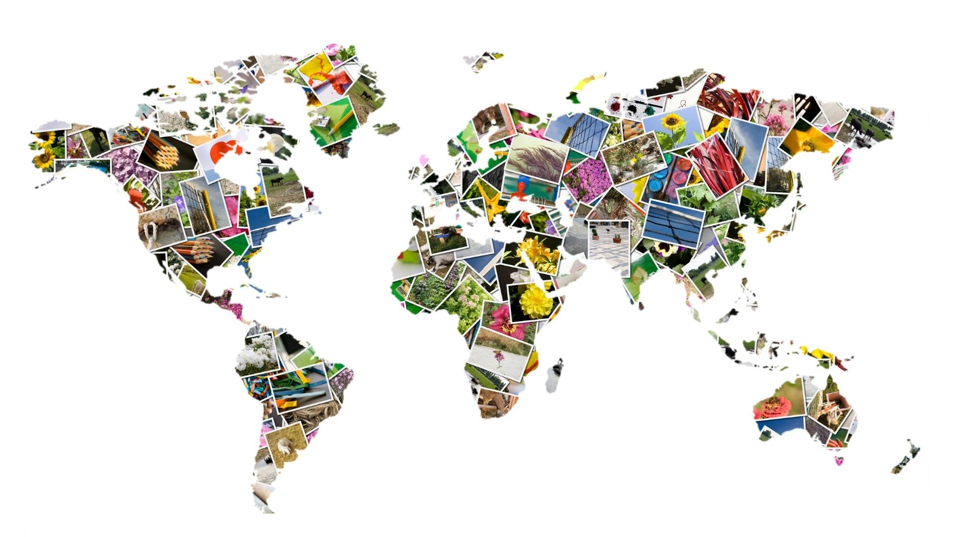 Anthropology online courses. Map of the world made out of photographs
