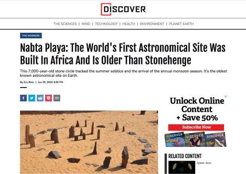 Screenshot of Nabta Playa article