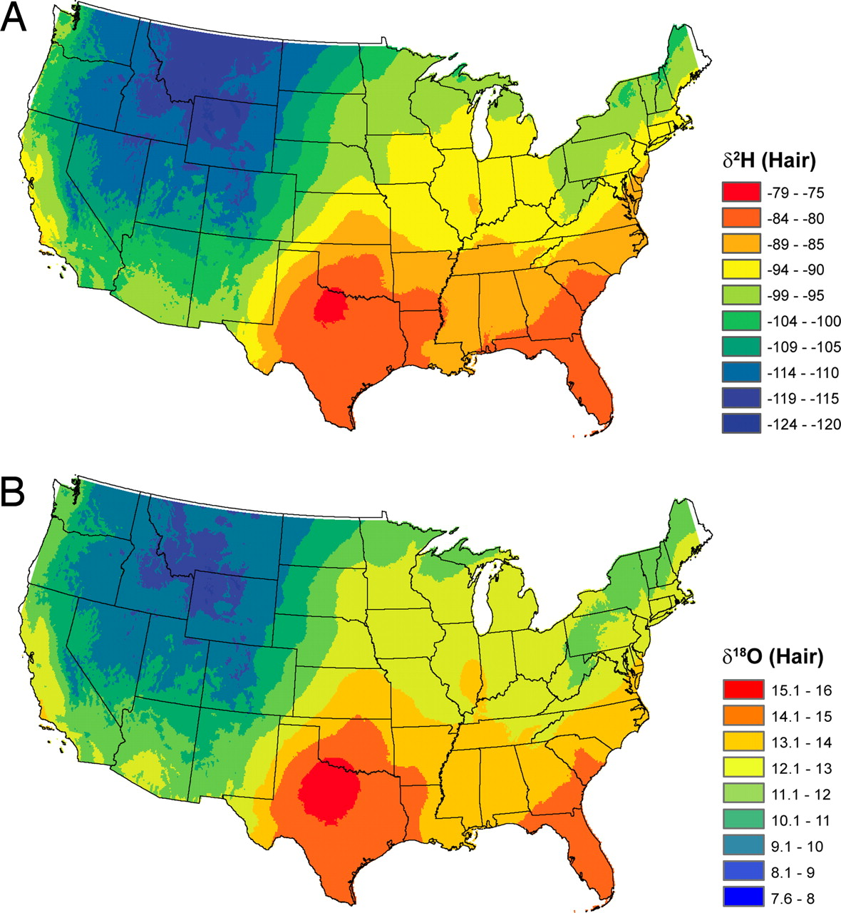 Distribution of Hydrogen and Oxygen Isotope Levels in the US