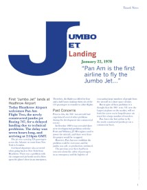 A one page editorial spread about the first Airliner to land a Jumbo Jet.