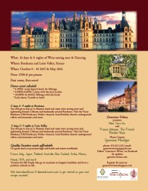 1-page flyer for Wine Tours Inc.