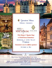 Banner for French tour Sponsored by Wine Tours Inc.. France Intense. and Genevieve Wines.