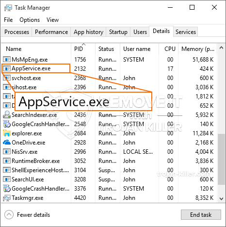 remove AppService.exe