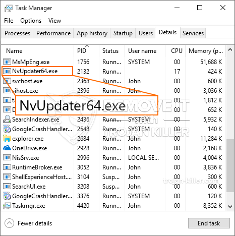 remove NvUpdater64.exe