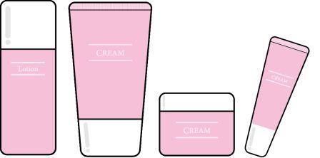 化粧水、美容液、乳液、クリームの一覧のイラスト