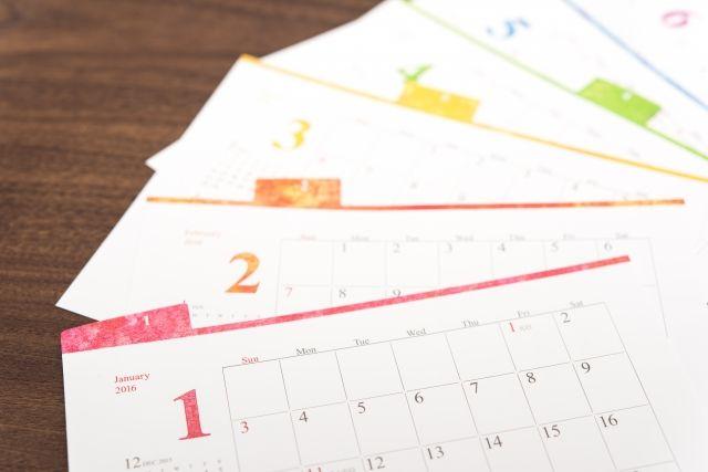 ピーリングの使用頻度を調べるカレンダーの写真