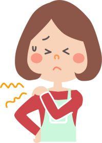 肩が痛いと困っている女性のイラスト