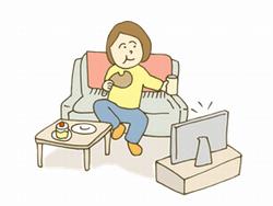テレビを見ながら食事をする女性のイラスト