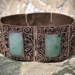 Bracciale in argento, filigrana d'argento e giada. Cina, prima metà del XX secolo - Bracelet in silver, silver filigree and jade. China, first half of 20th century
