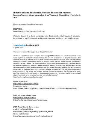 Historias del arte de Eslovenia. Modelos de actuación recientes. Conferencia de Francisco Tomsich, MNAV, Montevideo, 26 de julio de 2014_Página_1