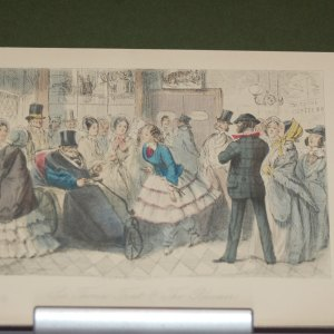1854 John Leech print Sir Thomas Trout and the bloomer