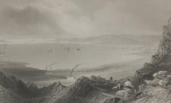 1860 Engraving Belfast Lough by Robert Wallis after William Bartlett.