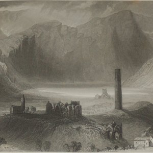 1860 Engraving Geldalough, County Wicklow after William Bartlett.