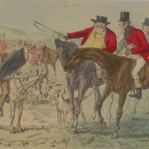 1854 hand coloured antique steel engraving by John Leech entitled, The Pomponius Ego Day, signed in plate & framed.