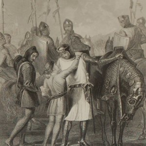 Antique print,1854 steel engraving Richard Earl of Pembroke taking leave of his brother.