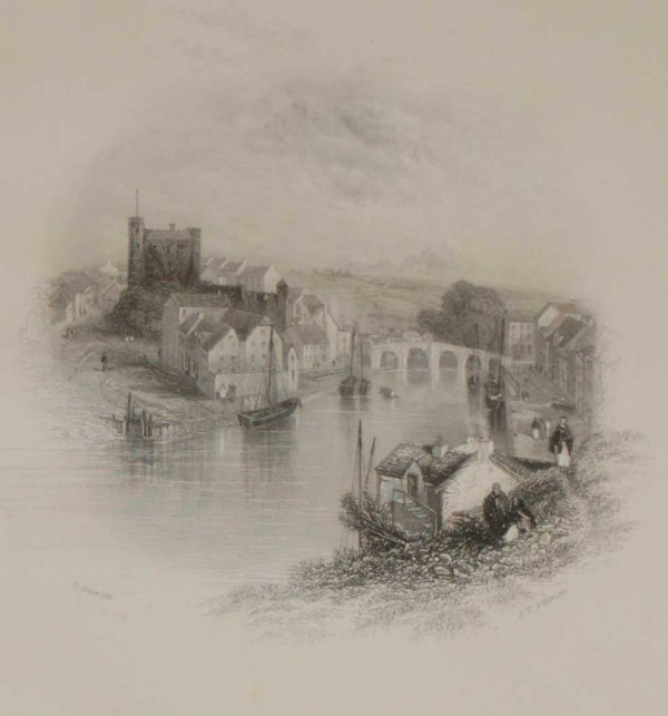An antique steel engraving of Enniscorthy in County Wexford, Ireland. The print dates from 1837 and was published by Longman and Co in London.
