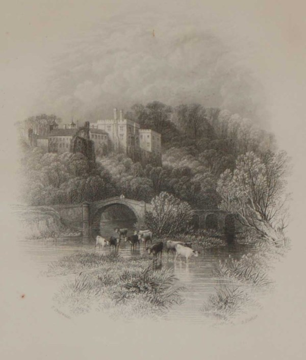 An antique print, steel engraving of Lismore Castle in County Waterford, Ireland. The print dates from 1837 and was published by Longman and Co in London.