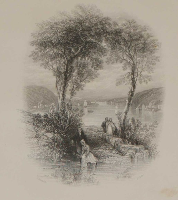 An antique steel engraving of the Passage Ferry in Cork, Ireland. The print dates from 1837 and was published by Longman and Co in London.