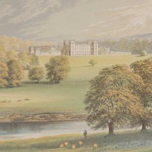 Floors Castle Scotland 1880 Antique Print