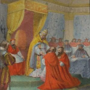 170 year old antique print the colours exceptionally strong, Leone X.Perdona Nela Sala Del Concilio Lateranense Ai Cardinali Garvavole E S.Severino