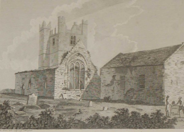 1797 Antique Print of Duleek Abbey in County Meath, Ireland. Duleek Abbey is believed to have been founded circa 450 AD by Saint Patrick.