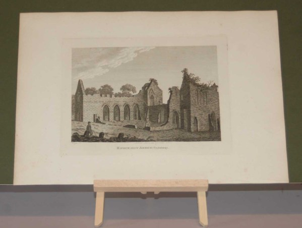 1797 Antique Print, a copper plate engraving of the Franciscan Abbey in County Tipperary, Ireland.