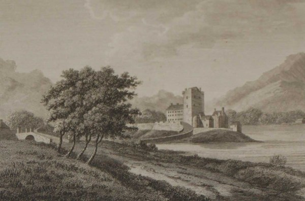 1797 Antique Print of the ruins of Ross castle in Killarney, County Kerry, Ireland. Ross Castle was built in the 15th century .