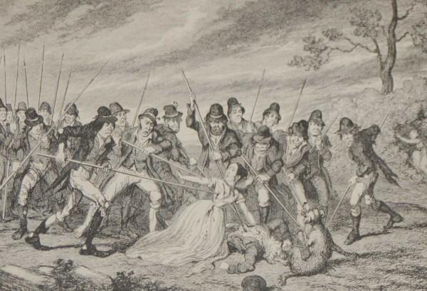 1864 antique print Murder of George Crawford and his Granddaughters after George Cruikshank.