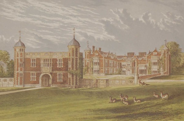 Antique colour print a chromolithograph from 1880 of Charlecote in Warwickshire