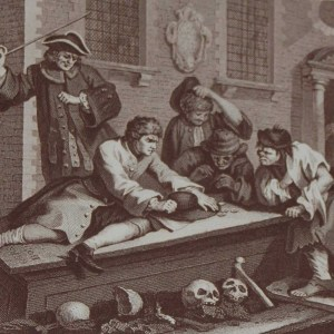 Antique print an engraving after William Hogarth . The engraving is titled Industry and Idleness Plate 3. The Idle Prentice at play in the Church Yard.