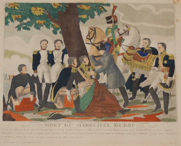 A vintage colour lithograph print done by Mourlot in 1944 after the original print from circa 1835 titled Mort du Marcéchal Duroc Mourlot