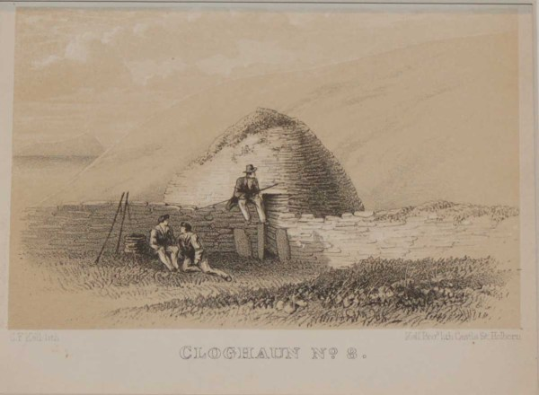 A set of two antique 1858 prints originally published in the Archeology Journal in 1858 , showing the interior and exterior of a Cloghaun structure in Kerry.