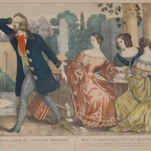 A vintage colour lithograph print done by Mourlot in 1944 after the original print from circa 1800 titled Ruíne et Désespoir de L'enfant Prodique