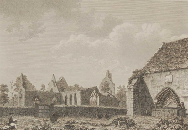 1797 antique print a copperplate engraving of Aghaboe Abbey in County Laois, Ireland. The abbey was founded by St Canice in the 6th century.