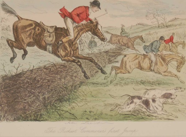 An 1858 hand coloured antique steel engraving by John Leech titled, The Richest Commoner's First Jump, signed in the plate.