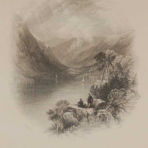 Antique print Luggelan, County Wicklow, a steel engraving from 1837, mounted.