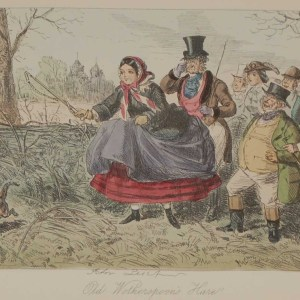 Original antique print from 1858 hand coloured , a steel engraving by John Leech titled, Old Wotherspoons Hare, signed in the plate.