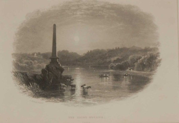 Antique print of the Boyne Obelisk, Louth, a steel engraving from 1871, mounted. The engraving is after a drawing by Andrew Nicoll ARHA.