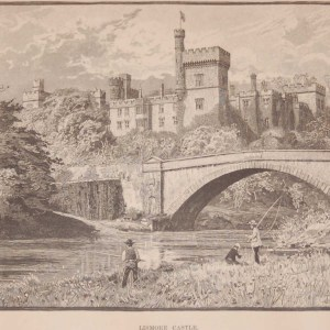 Antique print an engraving of Lismore Castle, County Waterford, Ireland done in 1892
