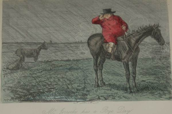 An 1854 hand coloured antique sporting print, a steel engraving by John Leech titled, Mr Jorrocks Has a Bye Day.