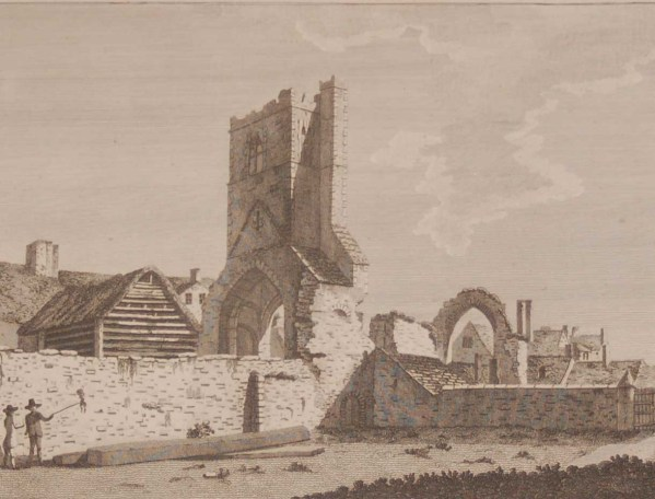 1797 Antique Print a copper plate engraving of St Mary's, Drogheda, County Louth, Ireland.