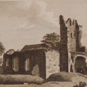 1797 Antique Print a copper plate engraving of South West view of Ardee Church, County Louth, Ireland.