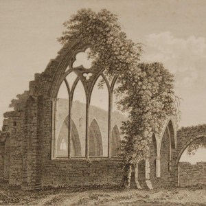 1797 Antique Print a copper plate engraving of Dermots Abbey, County Kildare, Ireland, called PL2 in the print for plate 2.