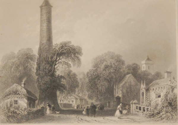 1841 Antique Steel engraving of Clondalkin in Dublin. The print was engraved by R Waths and is after a drawing by William Bartlett.