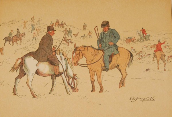 """Beautiful antique sporting print , a chromolithograph, published in 1902, after Edith Somerville, titled """"He Will Not Lave His Den For Them""""."""