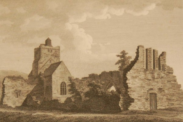 Antique print, from 1797 a copperplate engraving titled Baltinglass Abbey,after original drawings by Francis Grose.