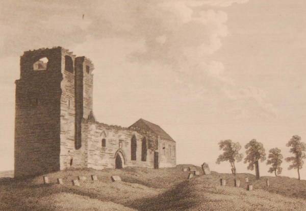 1797 antique print of the Church of Skyrne, County Meath Ireland. Published in London it was engraved by James Newton.